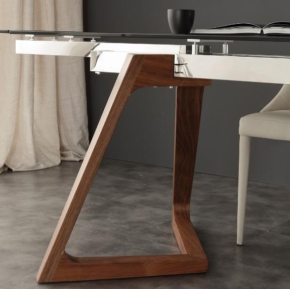 Tavolo in vetro acciaio inox e noce gaud la seggiola tavoli a prezzi scontati - Prezzi tavoli di lazzaro ...