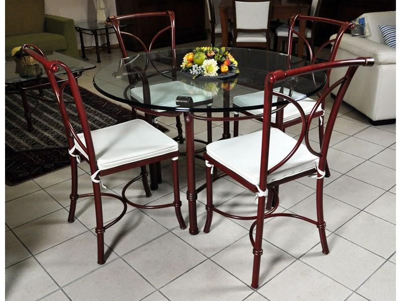 Tavolo in vetro e 4 sedie in ferro battuto in saldo a prezzo ...