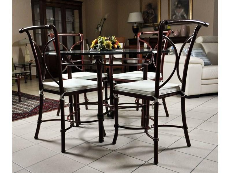 Tavolo in vetro e 4 sedie in ferro battuto in saldo a for Tavoli di marca