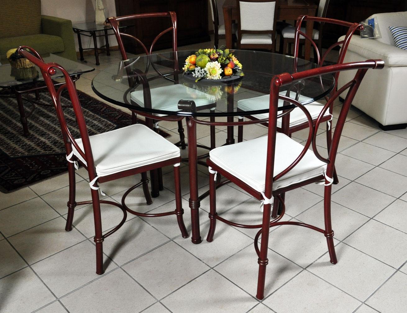 Tavolo in vetro e 4 sedie in ferro battuto in saldo a - Tavolo ferro battuto e vetro ...