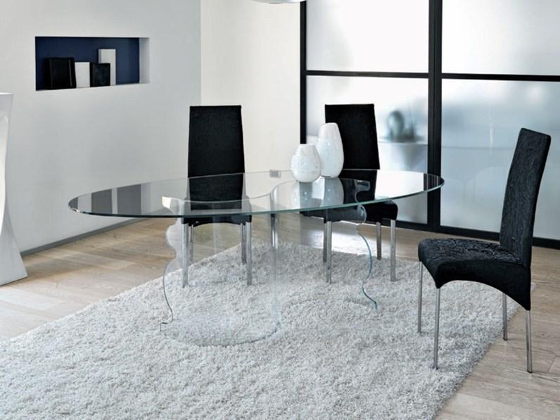 Tavolo in vetro ovale alfa unico italia a prezzo scontato for Alfa arredamenti