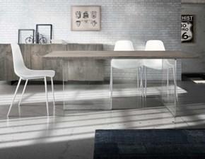 Tavolo in vetro rettangolare Gambe vetro legno massello pronta consegna Md work in offerta outlet