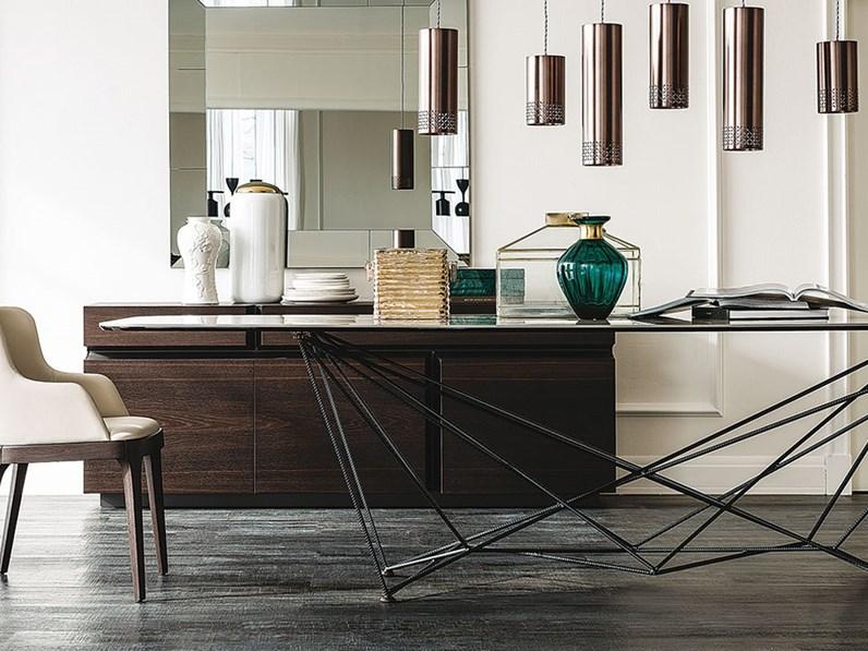Tavolo in vetro rettangolare gordon cattelan in offerta outlet for Outlet tavoli design