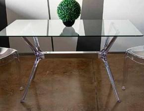 Tavolo in vetro rettangolare Modello i solisti Artigianale in offerta outlet