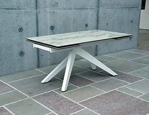 Tavolo in vetro rettangolare Vetro effetto marmo Benedetti in offerta outlet