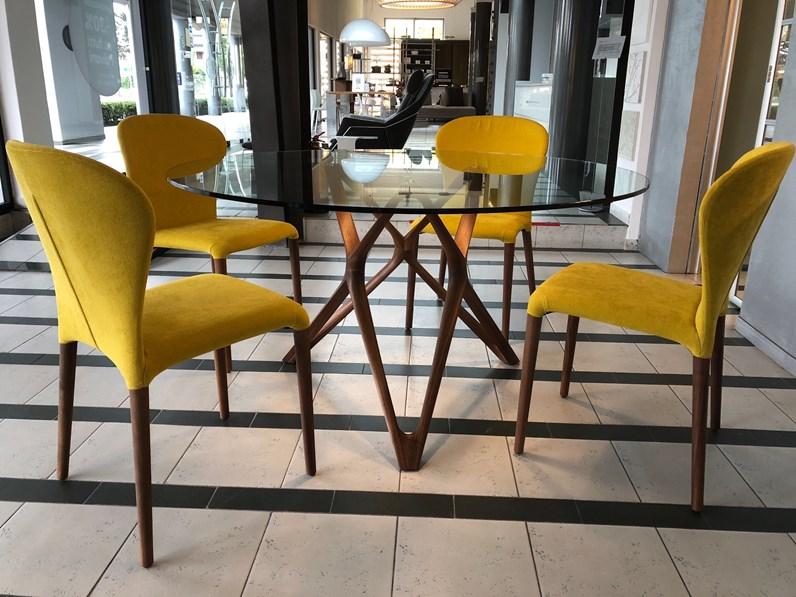 Tavolo in vetro rotondo tavolo circe e 4 sedie astrid for Borgonovo arredamenti