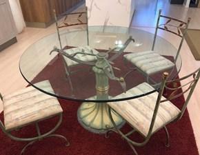 Tavolo in vetro rotondo Tavolo + sedie ferro battuto Solari in Offerta Outlet