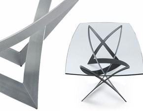 Tavolo in vetro sagomato Infinito  Reflex in offerta outlet