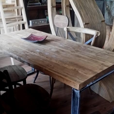 Tavolo industrial factory fisso cm 180 x 80 con legno for Tavoli in legno grezzo