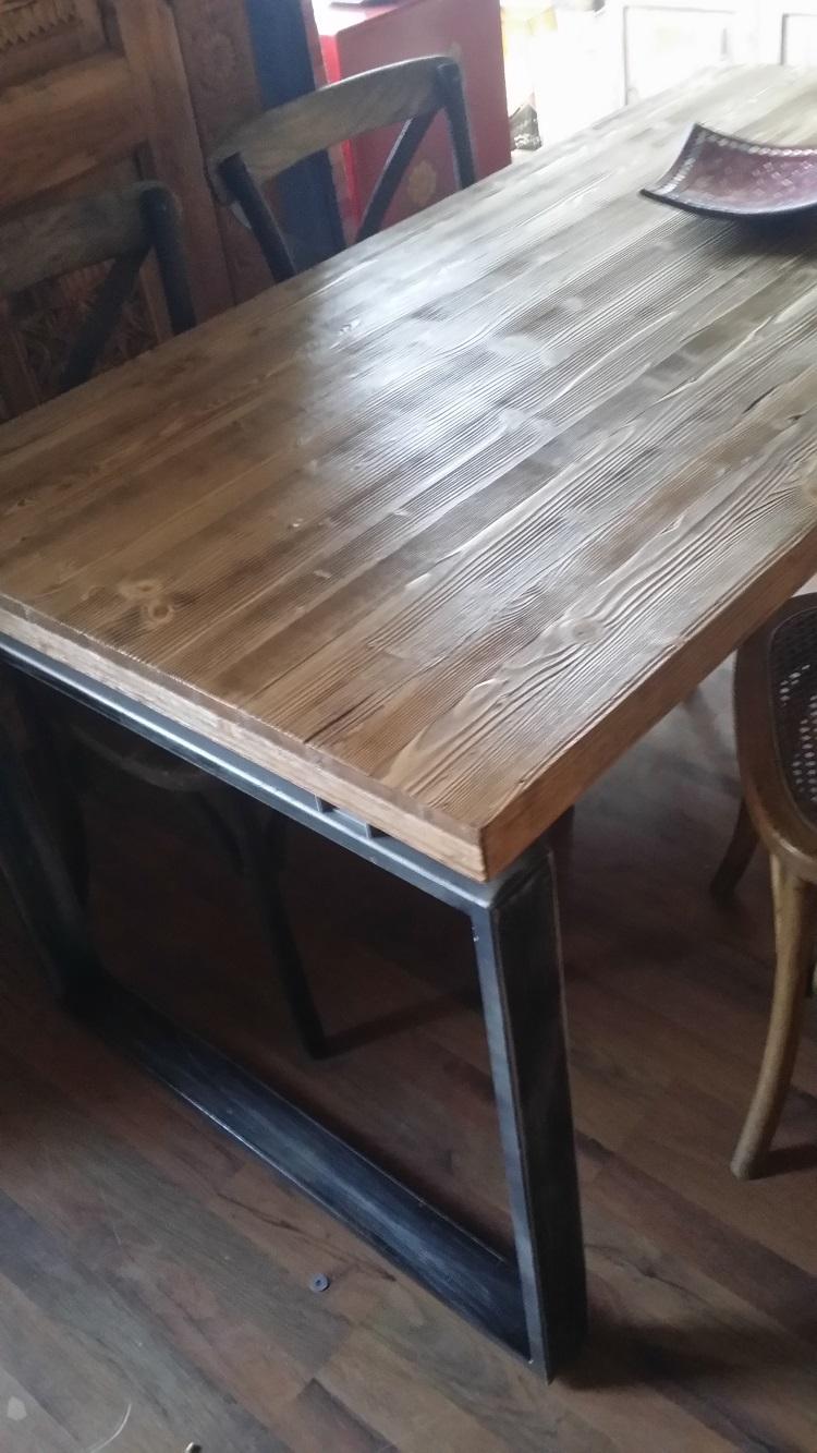 tavolo industrial factory fisso cm 180 x 80 con legno vintage ...