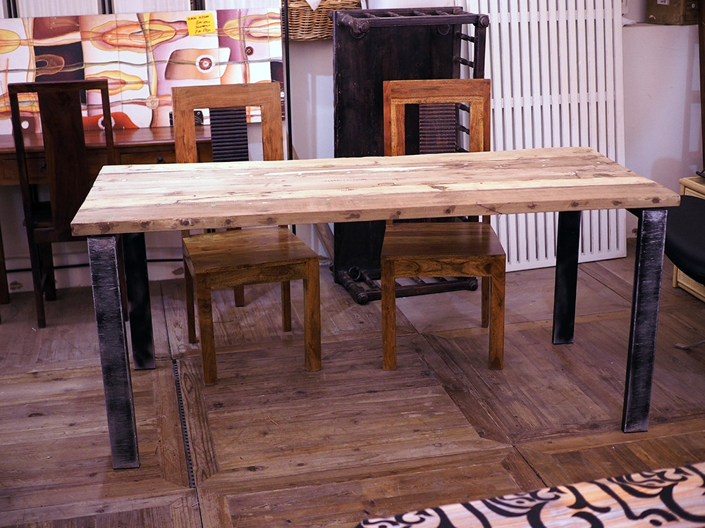 Tavolo industrial in offerta legno grezzo di noce india for Tavoli in legno grezzo