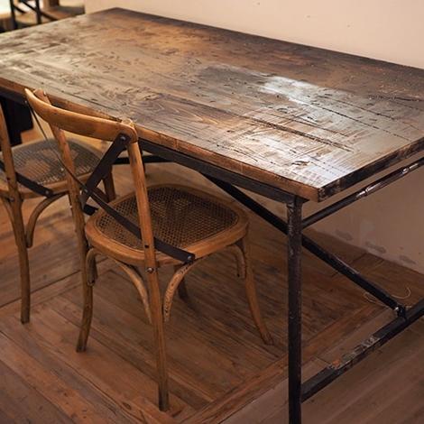 Tavolo industrial vintage legno massello sessham con - Tavoli vintage legno ...