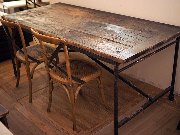 tavolo industrial vintage legno massello sessham con basamento ...