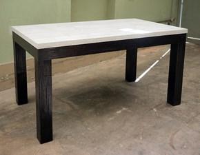 tavolo essential legno bambu  con top cemento allungabile