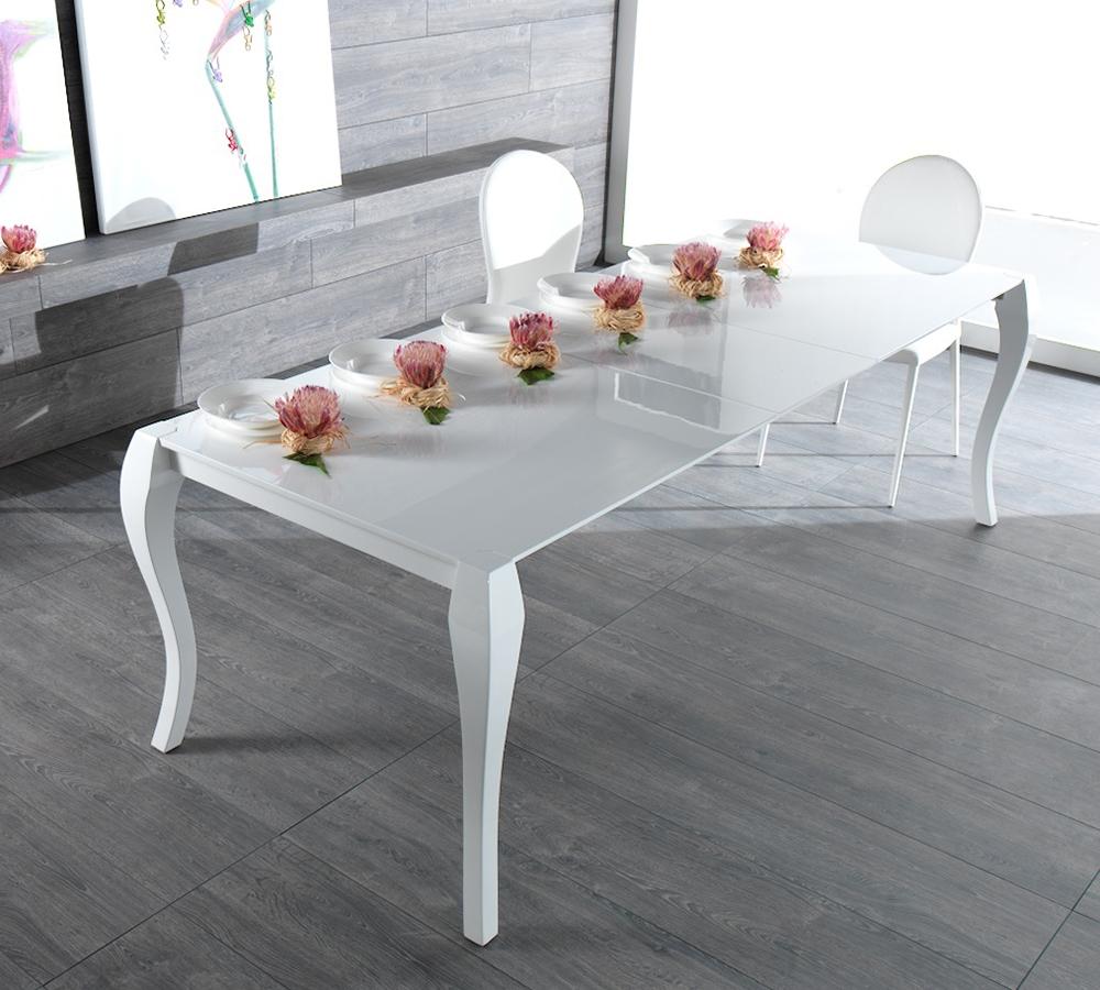 Tavolo laccato doppia allunga fine produzione tavoli a for Tavolo bianco lucido