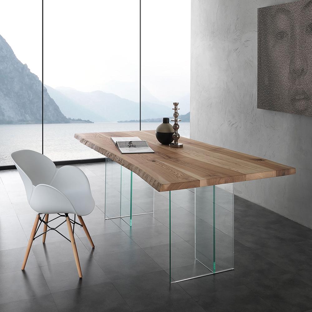 Tavolo laseggiola modello bio glass tavoli a prezzi scontati for Tavolo legno base vetro