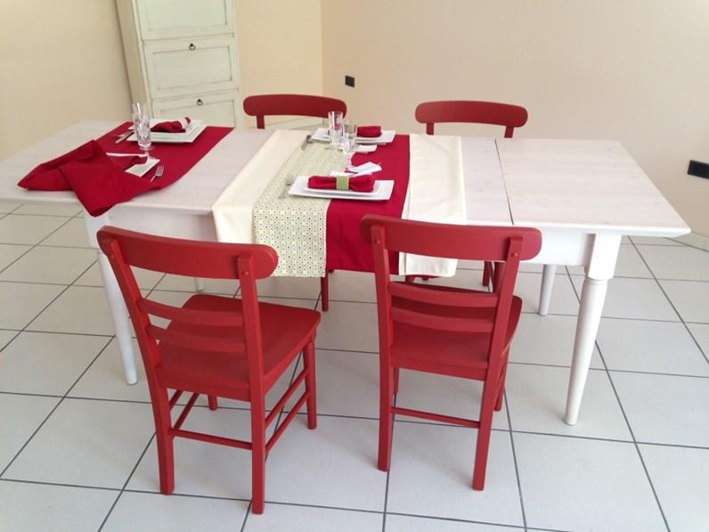 Tavolo legno massello di abete for Sedie cucina rosse