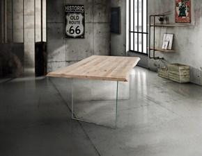 Tavolo Liverpool in legno con il basamento in vetro