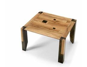 Tavolo Md work Tavolo in legno quadrato 120 x 120 in rovere vecchio con inserti in metallo PREZZI OUTLET