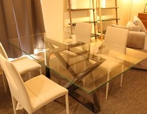 Tavolo Millennium gamba argento piano cristallo trasparente Bontempi casa in vetro Fisso