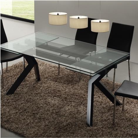 Tavolo mod tokio rettangolare in vetro e metallo tavoli - Tavolo rettangolare allungabile ...
