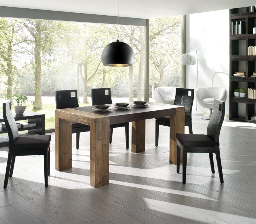 Tavolo moderno in legno di noce crash bambu 39 tavoli a for Tavolo moderno in legno