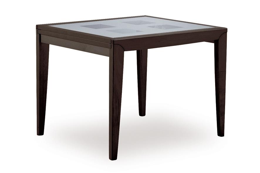 Tavolo natisa diana 2 85x85 85 quadrato in legno e vetro for Tavolo vetro satinato