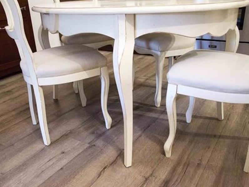 Tavolo Con Sedie In Legno.Tavolo Ovale Allungabile Essenza In Legno Massello Laccato Bianco