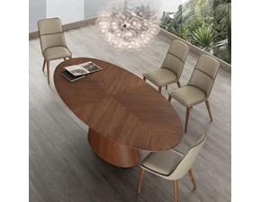 Tavolo ovale con basamento centrale Meridiana La seggiola scontato