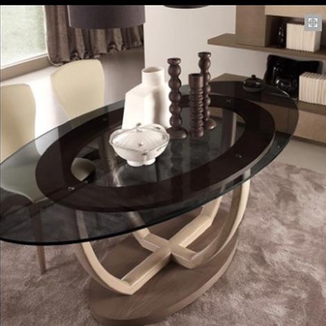 Tavolo ovale in cristallo con sedie in ecopelle signorini - Tavolo in cristallo ovale ...