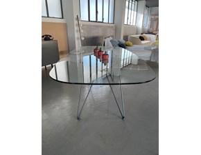 Tavolo ovale in vetro Cross Ozzio in Offerta Outlet