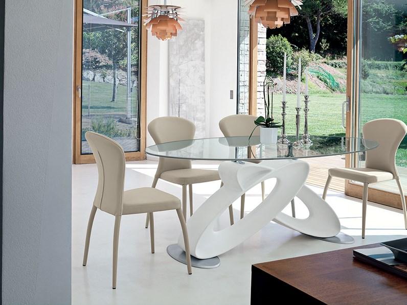 Tavolo ovale in vetro eclipse di target point for Tavolo con sedie moderno