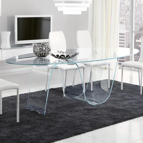 tavolo ovale in vetro infinity di unico italia a prezzo