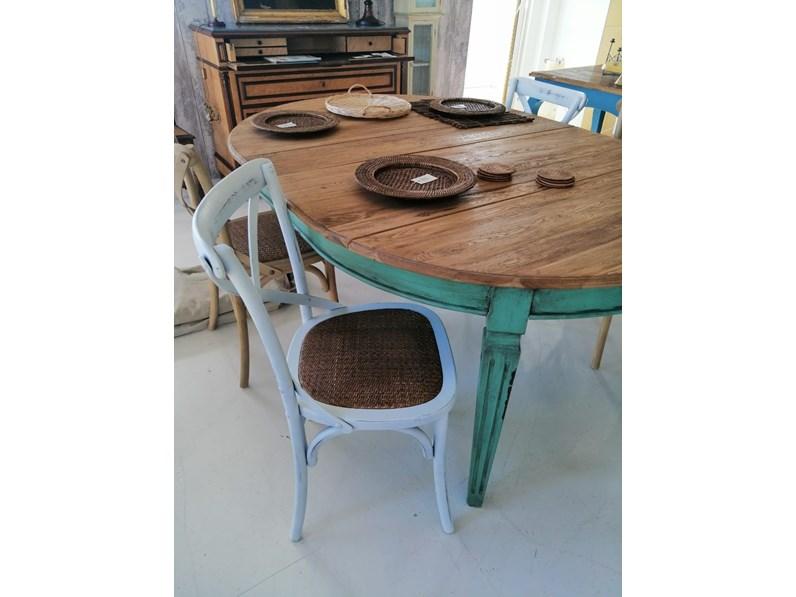 Tavolo ovale shabby artigianale in legno allungabile for Tavolo ovale allungabile legno
