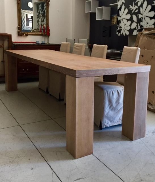 Tavolo parquet di rovere spazzolato fisso dimensioni maxi artigianale di falegnameria - Dimensioni tavolo ...