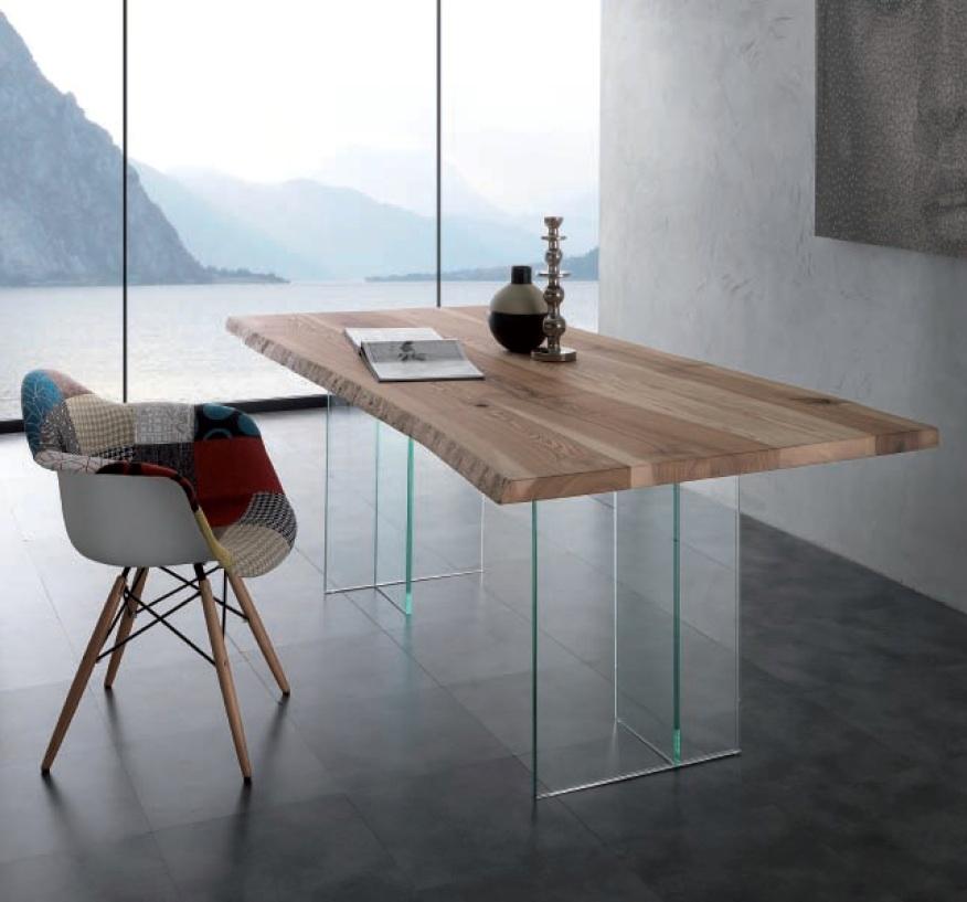 Tavolo naturalglass rettangolari fissi vetro tavoli a for Tavoli in vetro e legno