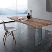 tavolo piano legno struttura ad incrocio cristallo