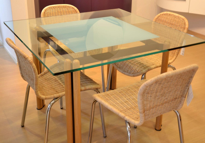 Tavolo cristallo quadrato tavoli in vetro e acciaio prezzi - Epierre