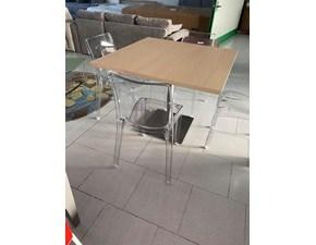 Tavolo quadrato in legno Tavolo completo di 4 sedie fine serie Md work in Offerta Outlet