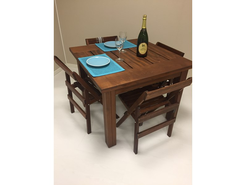 Tavolo quadrato in legno Tavolo iroko Artigianale in Offerta Outlet