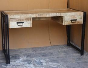 Tavolo rettangolare a penisola Tavolo scrittoio 2 cassetti ferro e legno industrial Outlet etnico scontato