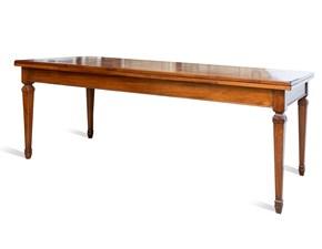 Tavolo rettangolare a quattro gambe Noce massiccio Artigianale scontato