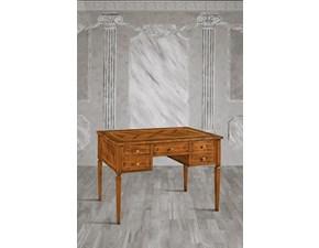 Tavolo rettangolare a quattro gambe Scrivania intarsiata con cassetti in promo-sconto del 40% Artigiani veneti scontato