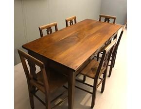 Tavolo rettangolare a quattro gambe Tavolo con sedie in noce &tradition scontato