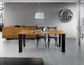 Tavolo rettangolare a quattro gambe Tavolo in legno massello con gambe in metallo Mottes selection scontato