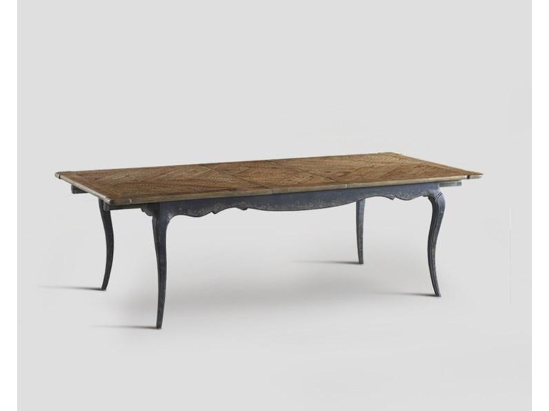 Tavolo rettangolare a quattro gambe tavolo in legno vecchio riciclato dialma brown scontato - Tavoli in legno vecchio ...