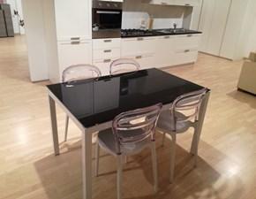 Tavolo rettangolare con basamento a quattro gambe Black La seggiola