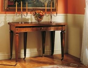 Tavolo classico a consolle in legno intarsiato con gambe con ruote