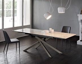 Tavolo rettangolare con basamento centrale Boston keramic lucido Friulsedie scontato