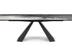 Tavolo rettangolare con basamento centrale Eliot crystalart drive Cattelan italia scontato